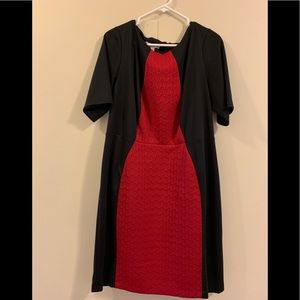 London Times Gently Worn Black and Red Work Dress